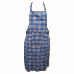 Cotton Kitchen Apron With Front Pocket Blue Yellow Checks