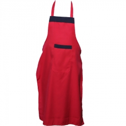 Cotton Kitchen Apron With Front Pocket Red Color