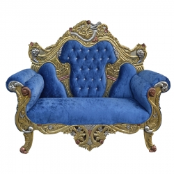 Blue Color - Udaipur - Rajasthani -  Jaipuri -  Heavy - Premium - Couches - Sofa - Wedding Sofa - Maharaja Sofa - Wedding Couches - Made of Wooden & Metal