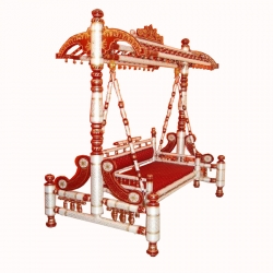 Sankheda Jhula - Wooden Swing - Made Of premium quality wood - Red & White Color