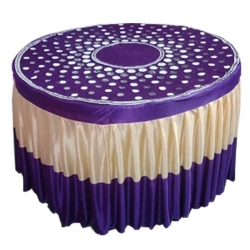 Designer Table Cloth / Table Cover For Round Table; Made Of Premium Quality Lycra Featuring Fine Work Of Embroidery; Purple & Cream Color.