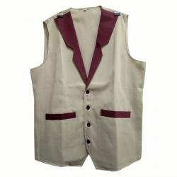 Waiter - Bearer - Bartender Coat Or Vest - Kitchen Uniform Or Apparel For Men - Full-Neckline - Sleeve-less - Made Of Premium Quality Polyester & Cotton - Grey & Brown Color (Available size 38 , 40 , 42 , 44 , 46 , 48)