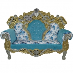 Sky Blue & White Color - Udaipur - Rajasthani - Jaipuri - Heavy - Premium - Couches - Sofa - Wedding Sofa - Maharaja Sofa - Wedding Couches - Made of Wooden & Metal