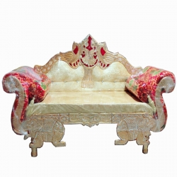 Yellow & Red Color - Regular Couches - Sofa - Wedding Sofa - Maharaja Sofa - Wedding Couches - Made of Wooden & Metal