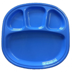 4 -Compartments Divided-Dinner Plate - Made from virgin plastic-Blue color