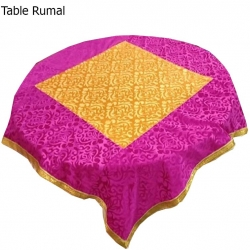 4 FT X 4 FT - Round Table Cover - Made of Premium Quality Brite Lycra - Top Velvet Fabric Cloth - Pink & Yellow Color
