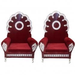 Maroon Color - Wedding Chair - Varmala Chari Set - Mandap Chair - Made Of Wooden & Metal - 1 Pair ( 2 Chair )