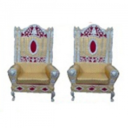 Golden Color - Wedding Chair - Varmala Chari Set - Mandap Chair - Made Of Wooden & Metal - 1 Pair ( 2 Chair )