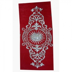 (4ft X 8ft) Decoration Background Curtain - Entrance Decoration - Stage Decoration Cloth Made Of Velvet Fabric With Designing Of Moti Sitara Work - Red Color