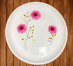 12 Inches Dinner Plates with Printed design - Made of Food Grade Virgin Plastic - White Color - 150 Gm
