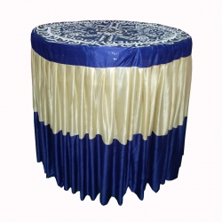 Designer Table Cloth / Table Cover For Round Table /  Made Of Premium Quality Lycra Featuring Fine Work Of Embroidery; Dark Blue & Cream Color.