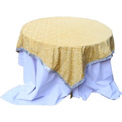 4 FT X 4 FT - Round Table Cover - Made of Premium Quality Brite Lycra - Top Velvet Fabric Cloth - Yellow Color