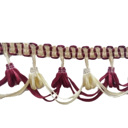 15 Meter - Cotton Lace - Curtain Lace - Decorative Laces - Sajavt Lace - Embroidery Lace - Color Maroon & White .