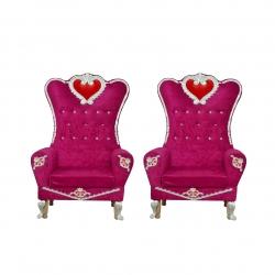 Pink Color - Wedding Chair - Varmala Chari Set - Marriage Chair Set - Wedding Stage Chair - Mandap Chair - Made of Wooden & Metal - 1 Pair ( 2 Chair )