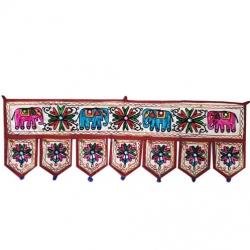 10 FT - Handmade Indian Home Rajasthani Door Toran -  Door Hangings Beige - Multi color (Available in 10 FT / 15 FT / 20 FT)