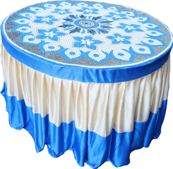 4 FT X 4 FT - Round Table Cover - Made of Premium Quality Brite Lycra - Top Velvet Fabric Cloth - Sky Blue & Creme Color