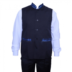 Waiter / Bearer / Bartender Coat or Vest / Kitchen Uniform or apparel for Men; Full-Neckline; Sleeve-less, Made of Premium Quality Polyester & Cotton; Black Color.