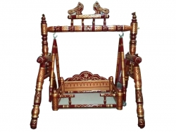 29 Inch X 35 Inch - Sankheda Palna - Wooden Pooja Use Cradle - Wood Art  - Maroon & Golden Color .