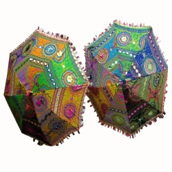 26 Inch - Fabric Embroidered Rajasthani Umbrella - Multi Color
