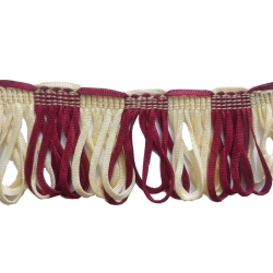 U Design 3 inch Lace / 20 Meter / Cotton Lace / Curtain Lace /  Decorative Laces /  Sajavt Lace / Embroidery Lace, Color Maroon & White .
