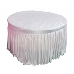 4 FT X 4 FT - Round Table Cover - Made of Premium Quality Brite Lycra - Top Velvet Fabric Cloth - White Color