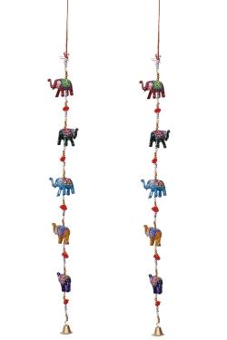 3 FT - Rajasthani Elephant Door Hanging - Jhumar - Multi Color.