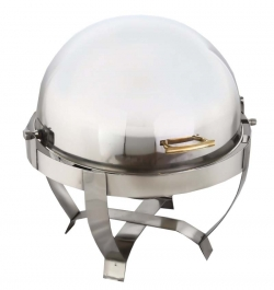 8 LTR - Roll Top Chafing Dish - Garam Set - Hot Pot - Stainless Steel - Round Shape