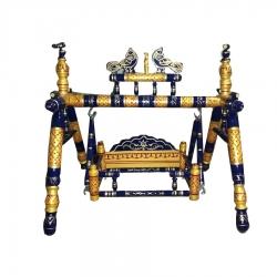 9 Inch X 12 Inch - Sankheda Palna - Wooden Pooja Use Cradle - Wood Art  - Black & Golden Color .