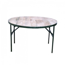(4 x 4 Feet Round Table) - Weight 30 KG Catering Center Table - Made Of Wood & Iron .