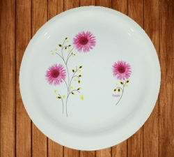 12 Inch - Dinner Plates - Made Of Food-Grade Virgin Plastic Material - Round Shape - White Printed Plate