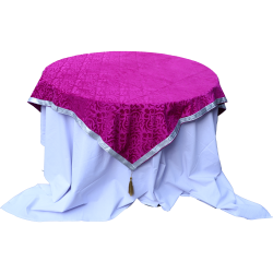 4 FT X 4 FT - Round Table Cover - Made of Premium Quality Brite Lycra - Top Velvet Fabric Cloth - Dark Pink Color
