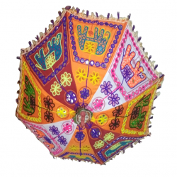 13 Inch - Fabric Embroidered Hanging Rajasthani Umbrella (Multicolored)