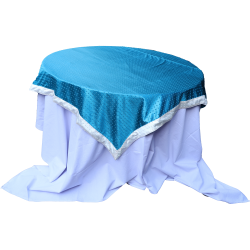 4 FT X 4 FT - Round Table Cover - Made of Premium Quality Brite Lycra - Top Velvet Fabric Cloth - Sky Blue Color