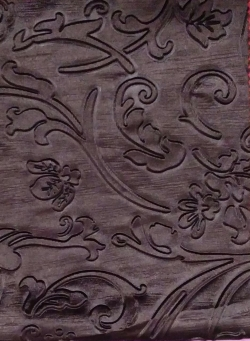 Heavy Emboss / Meena Kari Work On Warp Nitting Crush Cloth / 48 Inch Panna/ 5 Meter Quality / Chocolate  Color .