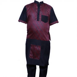 Cotton Kitchen Apron Set Shirt - Apron with Cap Maroon Color