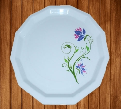 12 inch Dinner Plates; Made Of Food-Grade Virgin Plastic Material; Round Shape; Diameter 12 Inches; ; White Printed Plate