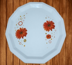 13 Inch Dinner Plates - Made Of Food-Grade Virgin Plastic Material - White Print Plate