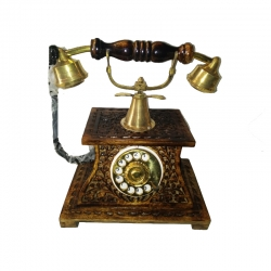 Wooden Landline Telephone Dummy Only Show Piece Not Working Royal Look ( Brown )