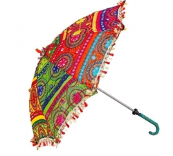 32 Inch - Multi Color - Rajasthani Umbrellas - Fancy Umbrella - Decorative Umbrella - Chatri - Weight -  200 Gms.