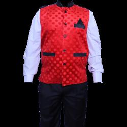 Waiter - Bearer - Bartender Coat Or Vest - Kitchen Uniform Or Apparel For Men - Full-Neckline - Sleeve-less - Made Of Premium Quality Polyester & Cotton - Red Color (Available size 38 , 40 , 42 , 44 , 46 , 48)