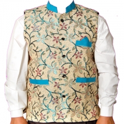 Waiter - Bearer - Bartender Coat Or Vest - Kitchen Uniform Or Apparel For Men Full - Neckline - Sleeve-less - Made Of Premium Quality Polyester & Cotton - Multi Color  (Available size 38 , 40 , 42 , 44 , 46 , 48)