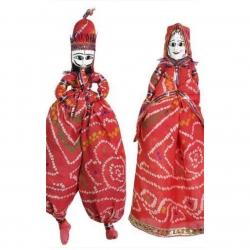 Rajesthani - Katputli - Dolls - Puppet - Made of ( Wooden face & Sarri Cloth)