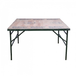 4 FT X 4 FT Sqaure Table - Catering Table - Made of Wood (Babul Falli) & Iron - Weight 33 KG