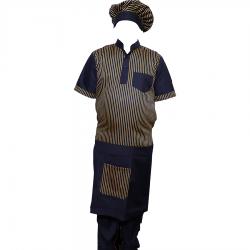Cotton Kitchen Apron Set Shirt - Apron with Cap Brown & Black Color
