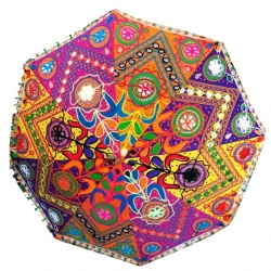 26 Inch - Fabric Embroidered Rajasthani Umbrella (Multicolored)