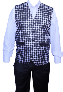 Waiter / Bearer / Bartender Coat or Vest / Kitchen Uniform or apparel for Men; Full-Neckline; Sleeve-less, Made of Premium Quality Polyester & Cotton.