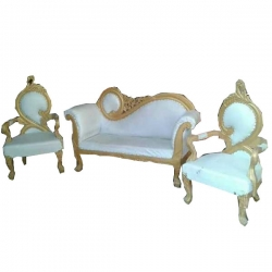 Wedding Reception Sofa - Royal Saharanpur Design Sofa Made Of Wood And Metal - Set Of 3 (1 Two-Seater & 2 Single-Seater) White Color