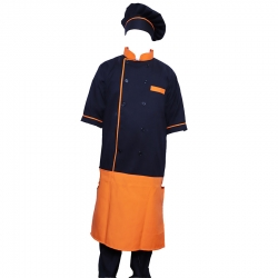 Cotton Heavy Kitchen Apron Set Shirt - Apron with Cap Dark Orange & Black Color