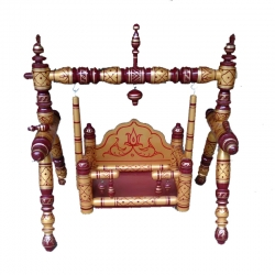 Sankheda Palna - (29*35 Inches) Wooden Pooja Use Cradle - Wood Art  - Maroon & Golden Color .