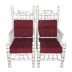 Wooden Chair - Sankheda Chair - One Pair (Set of 2 Chairs) - White & Red Color
